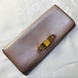Prada Metallic Pink Saffiano Wallet